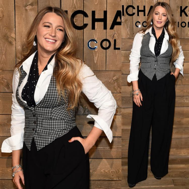 Blake Lively channelled her inner Serena van der Woodsen at Michael Kors show; Sports a menswear inspired look