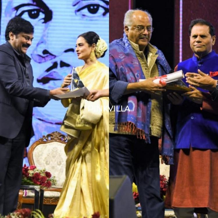 Photos: Megastar Chiranjeevi presents the ANR awards to veterans Boney Kapoor and Rekha