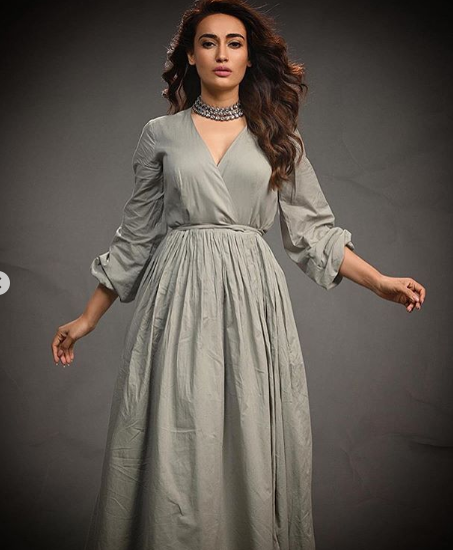 Naagin 3 star Surbhi Jyoti dons a pastel grey dress in new PHOTOS and we are totally crushing over it
