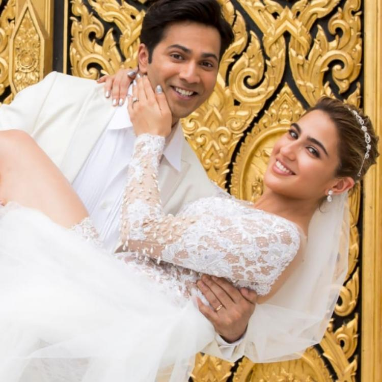 Coolie No 1 New Look: Varun Dhawan and Sara Ali Khan paint a happy picture in white and we can't stop staring