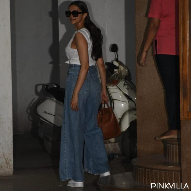 PHOTOS: Deepika Padukone opts for a classic white on blue denim look as she steps out of a clinic