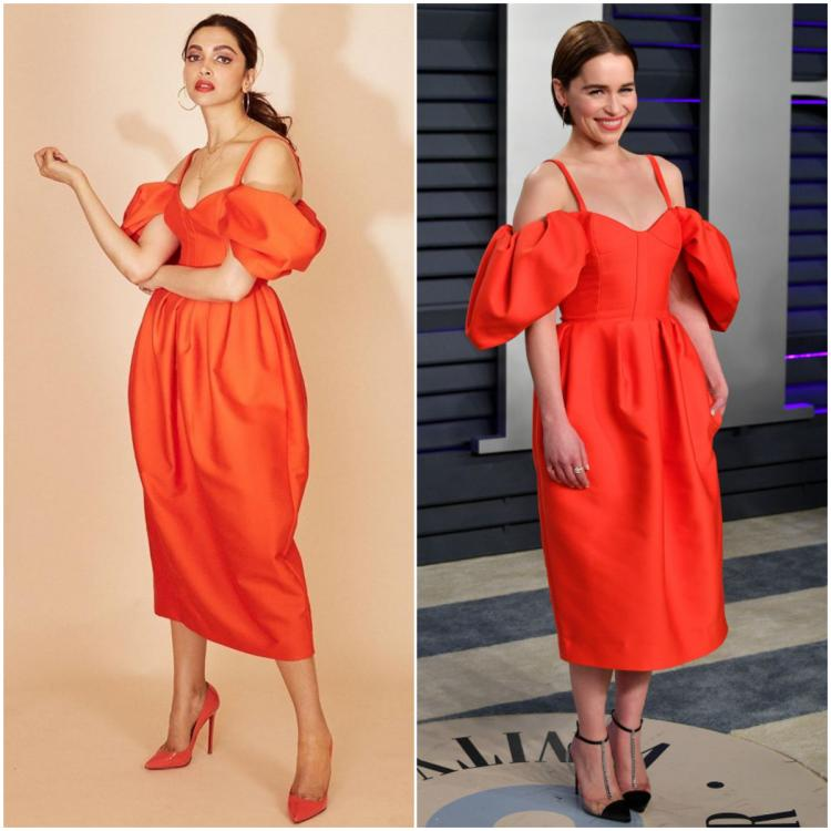 Fashion Faceoff: Deepika Padukone or Emilia Clarke: Who wore the red Rosie Assoulin puff sleeve dress better?