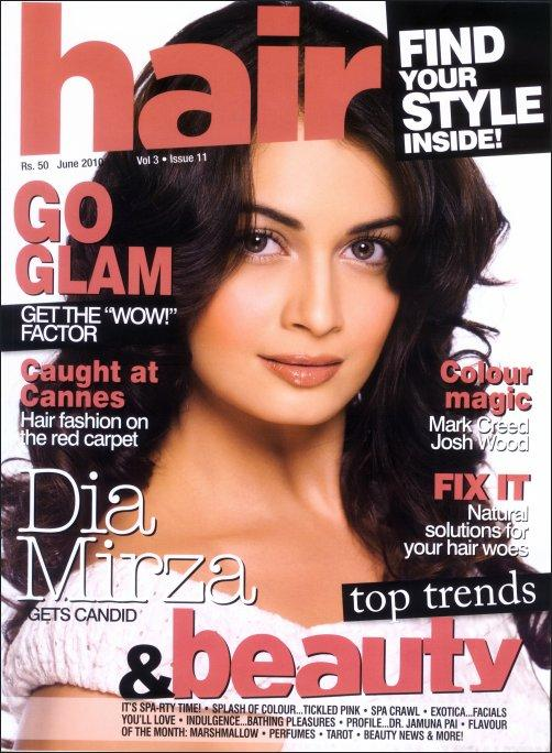 hair cut style magazine dia mirza on the cover of hair magazine pinkvilla 5316