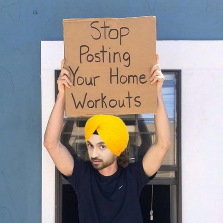 Diljit Dosanjh shares Dude with Sign's photoshopped meme urging people to stop posting home workout videos