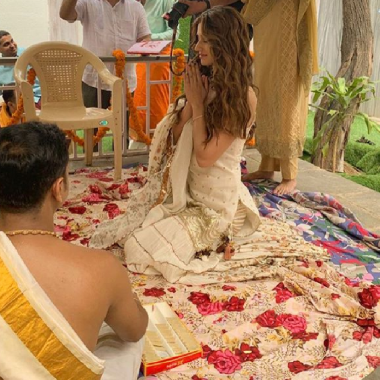PHOTOS: Disha Patani is a vision in white as she goes traditional for Salman Khan starrer Radhe's muhurat puja