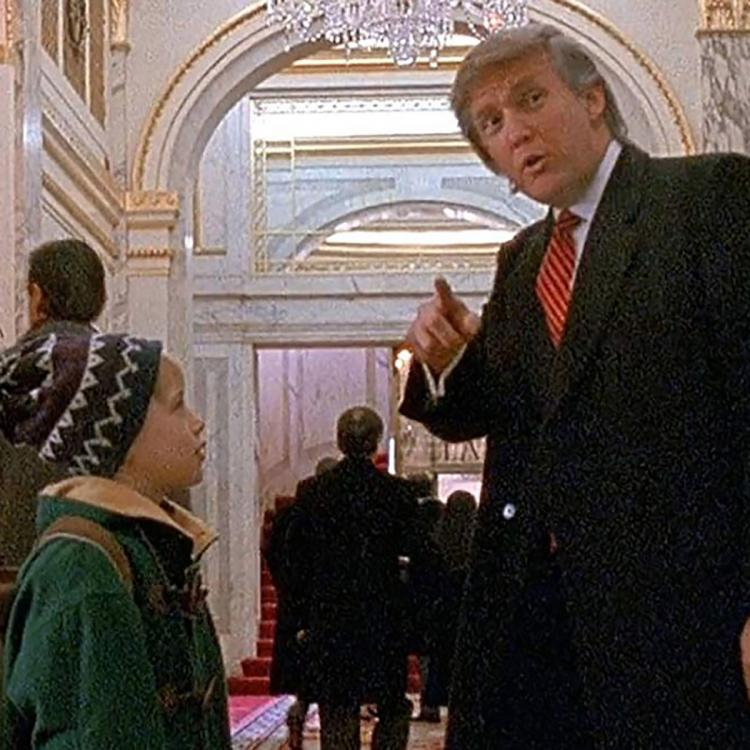 In the Home Alone 2: Lost in New York scene, Donald Trump is seen giving directions to Macaulay Culkin's Kevin McCallister inside Plaza Hotel, New York City.