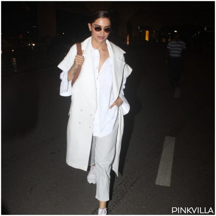 Deepika Padukone sports a funky all white airport look as she heads to London to join Ranveer Singh; View pics