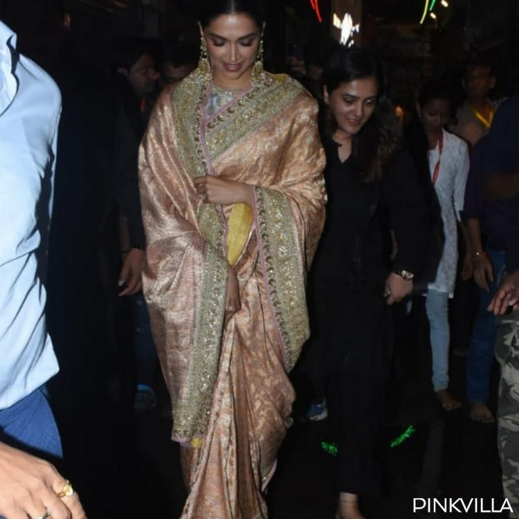 PHOTOS: Deepika Padukone looks ethereal in a silk saree as she visits Lalbaugcha Raja