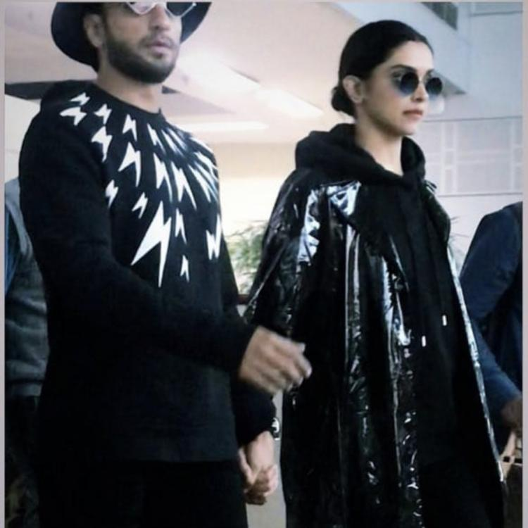 Deepika Padukone and Ranveer Singh twin in black as they arrive at the Amritsar airport; Check it out