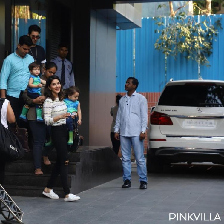 PHOTOS: Sunny Leone and husband Daniel Weber spotted with kids at their playschool