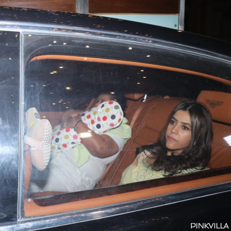 PHOTOS: Ekta Kapoor looks radiant as she dons a yellow outfit for her newborn's naming ceremony