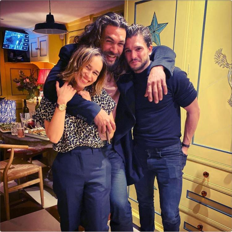 Emilia Clarke shared an Instagram post from her reunion with Game of Thrones co-stars Kit Harington and Jason Momoa.