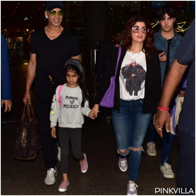 PHOTOS: Akshay Kumar, Twinkle Khanna, son Aarav and daughter Nitara are all smiles as they return to the bay