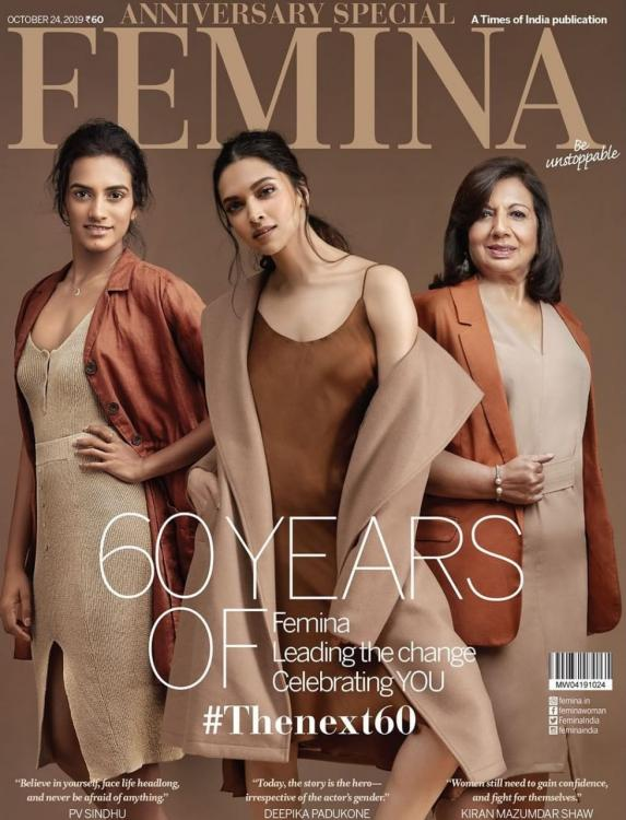 Deepika Padukone sizzles on the cover of Femina's anniversary special along with PV Sindhu & Kiran Mazumdar