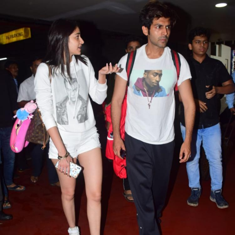 PHOTOS: Kartik Aaryan & Ananya Panday spill style as they return from Lucknow post Pati Patni Aur Woh shoot