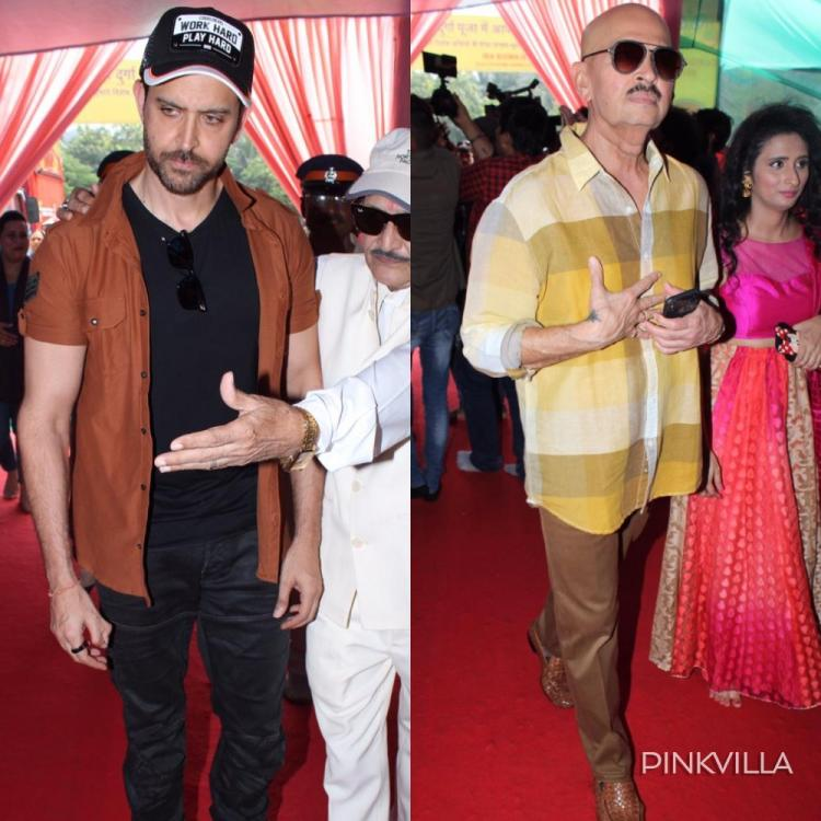 PHOTOS: Hrithik Roshan and father Rakesh Roshan celebrate the last day of Navratri together