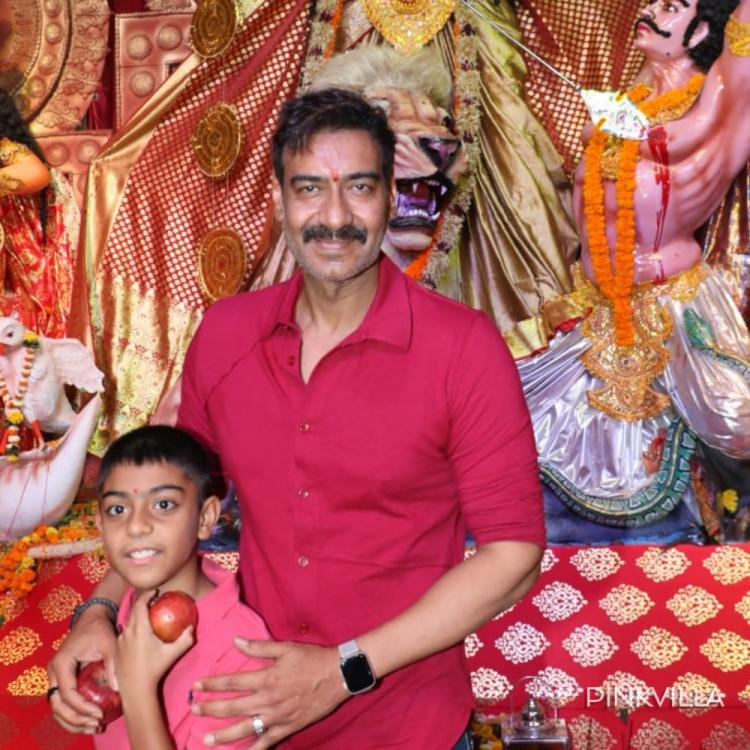 Dussehra 2019: Ajay Devgn arrives at a pandal with son Yug to seek blessings from Goddess Durga