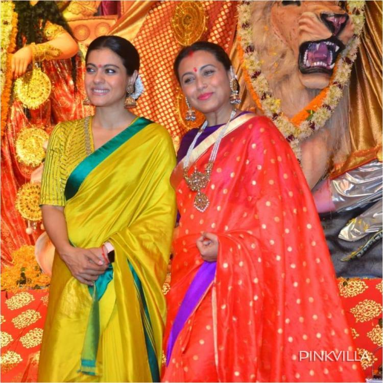 PHOTOS: Rani Mukherjee & Kajol don traditional hues as they celebrate Durga Ashtami together