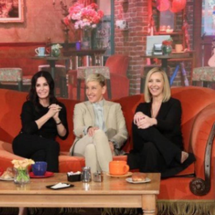 Friends stars Courteney Cox and Lisa Kudrow shoot for The Ellen DeGeneres Show at Central Perk Cafe