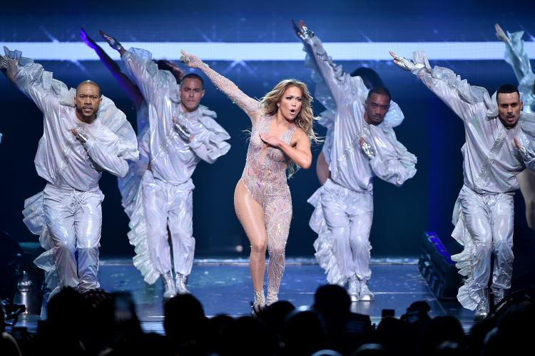 Jennifer Lopez performs onstage during the It's My Party Tour at Madison Square Garden in Manhattan.