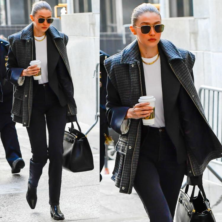 Gigi Hadid gives lessons on street style in a woolen vest and flat leather boots to keep cosy in NYC
