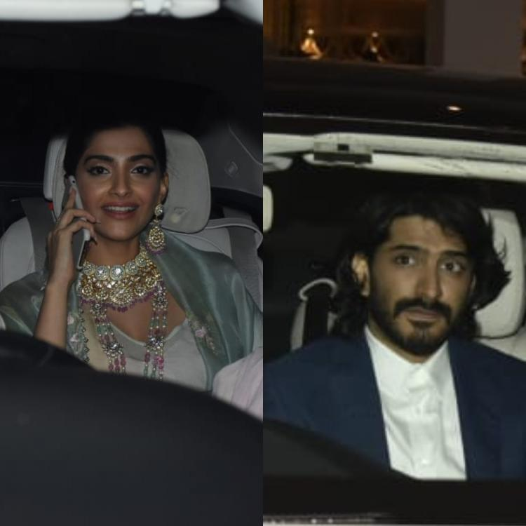 PHOTOS: Sonam Kapoor along with father Anil Kapoor & brother Harshvardhan head for a family function together