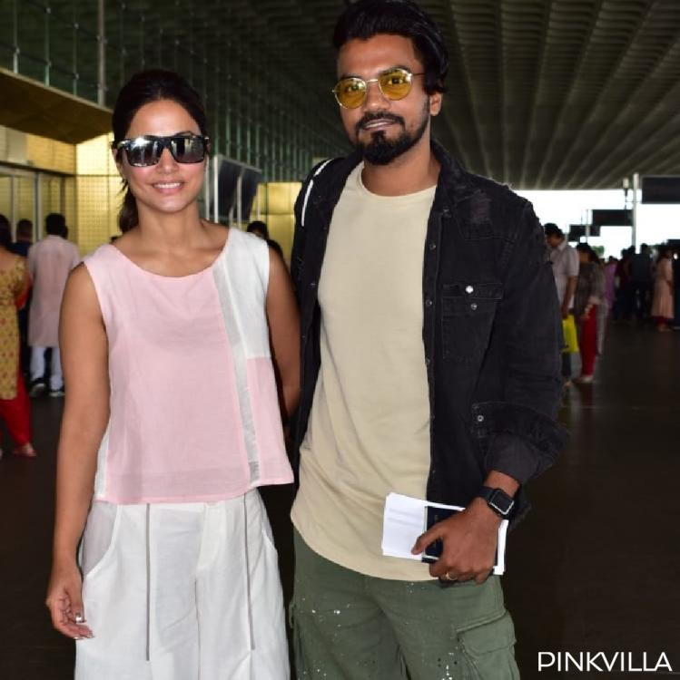 PHOTOS: Hina Khan is all smiles as she gets spotted with beau Rocky Jaiswal at the airport
