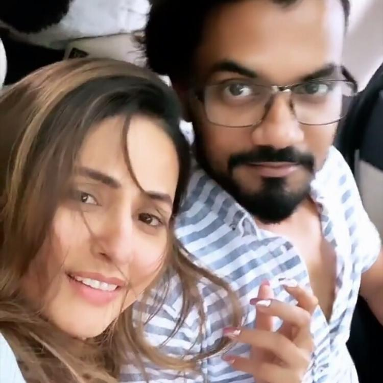 Hina Khan is as excited as a kid as beau Rocky Jaiswal pampers her with birthday gifts; Check it out