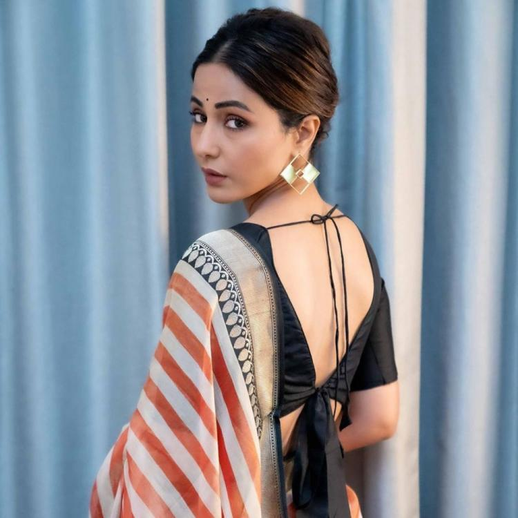 Hina Khan is a proud desi girl as she dons a saree for the India Day Parade in New York; See Pics