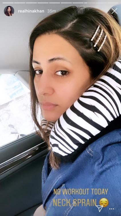 Hina Khan sprains her neck; gives her gym session a miss today