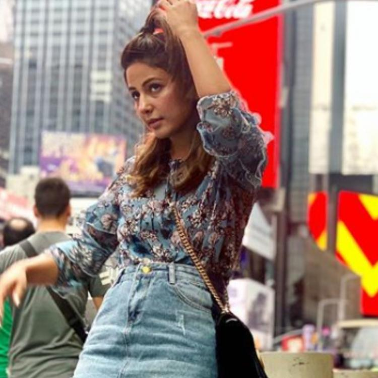 Hina Khan slays the denim skirt look ahead of hoisting flag on Independence Day in New York; view PICS
