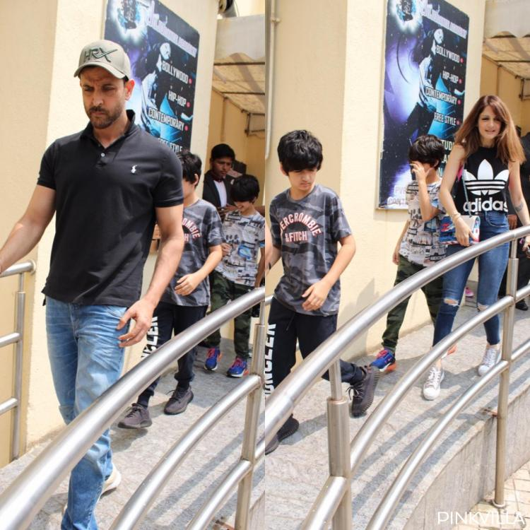 Hrithik Roshan, Sussanne Khan and kids Hridhaan & Hrehaan Roshan papped outside a multiplex; View pics