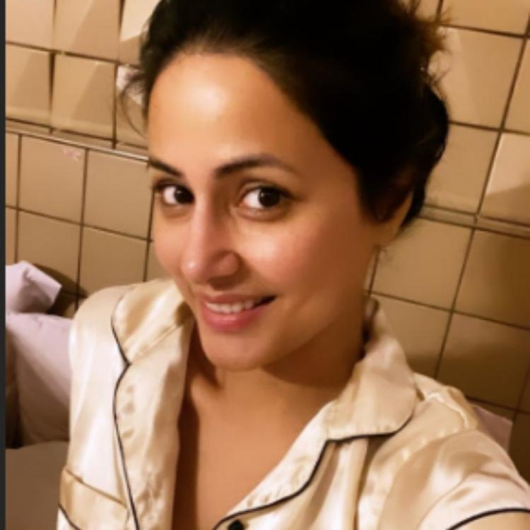 Hina Khan ditches her regular wear and poses in a comfy night suit; View PICS