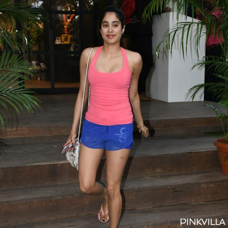 PHOTOS: Janhvi Kapoor dons neon pink t shirt and looks bright as she walks out of gym