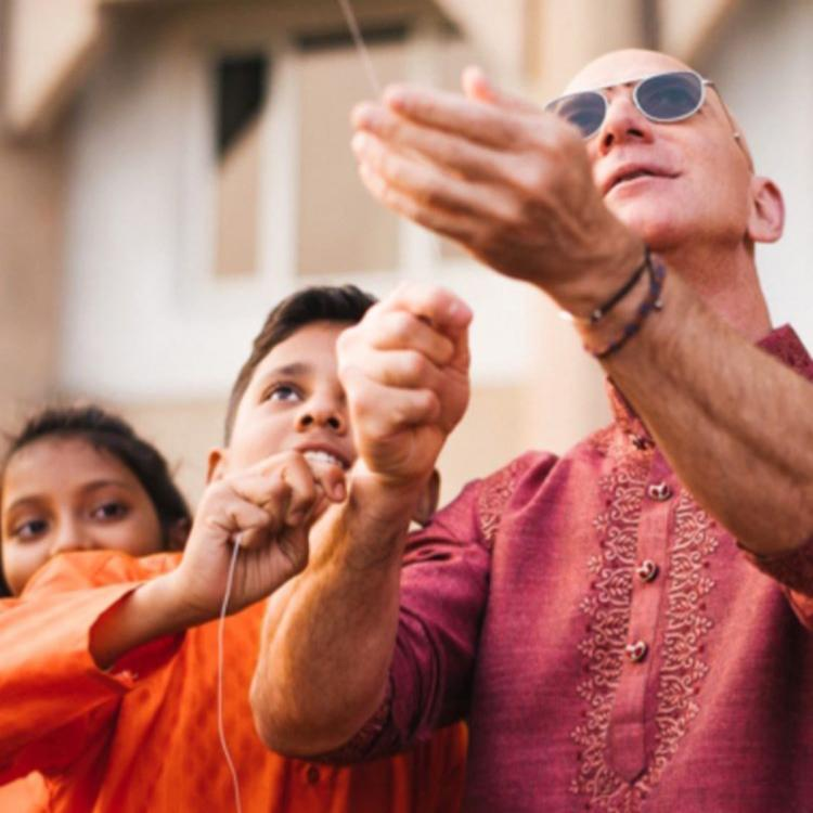 Jeff Bezos in India: American entrepreneur dons the traditional kurta to fly a kite during Makar Sankranti
