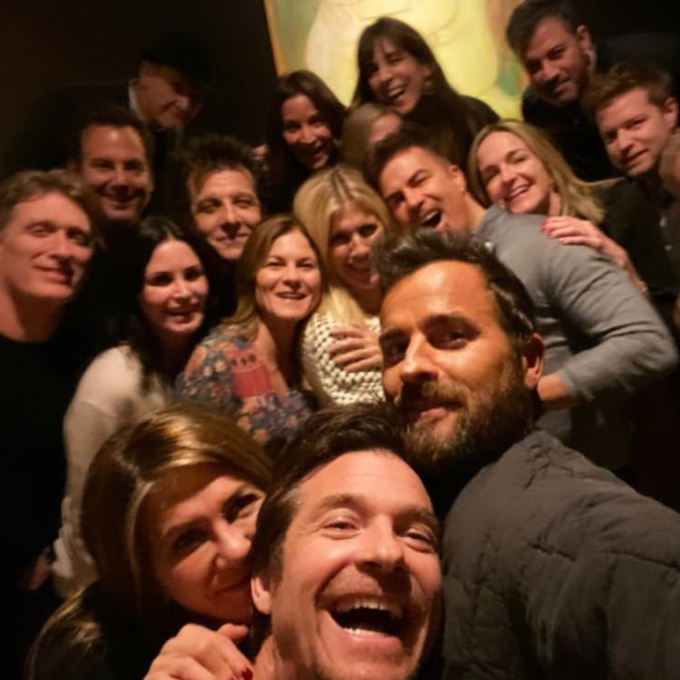 Justin Theroux was amongst the many celebrity guests at Jennifer Aniston's Friendsgiving feast.