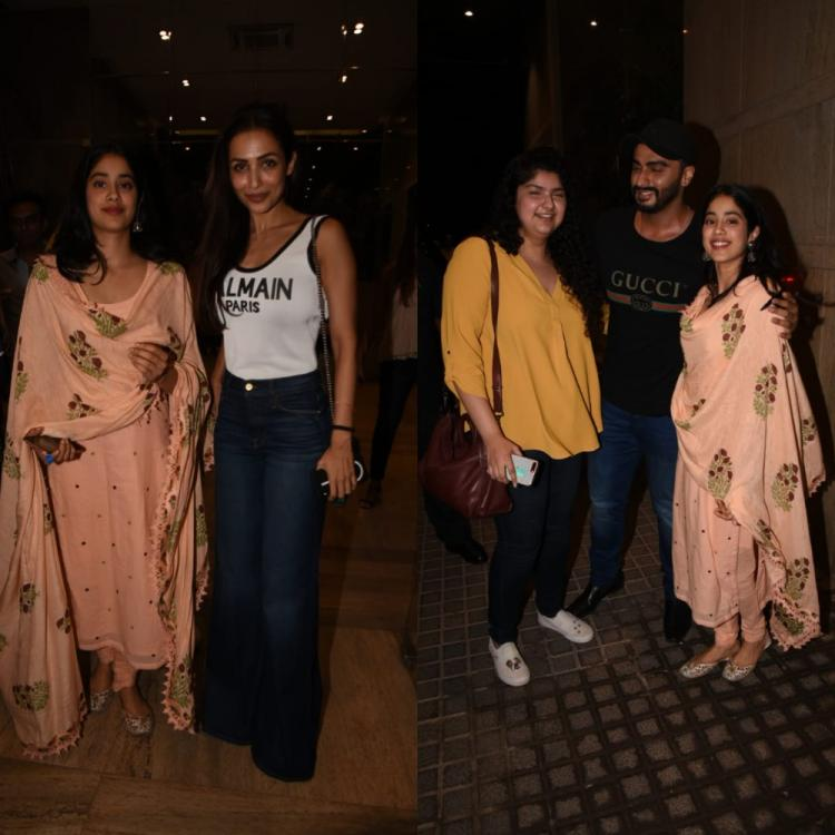 Malaika Arora poses with Arjun Kapoor & sisters Janhvi & Anshula post India's Most Wanted Screening; View Pics