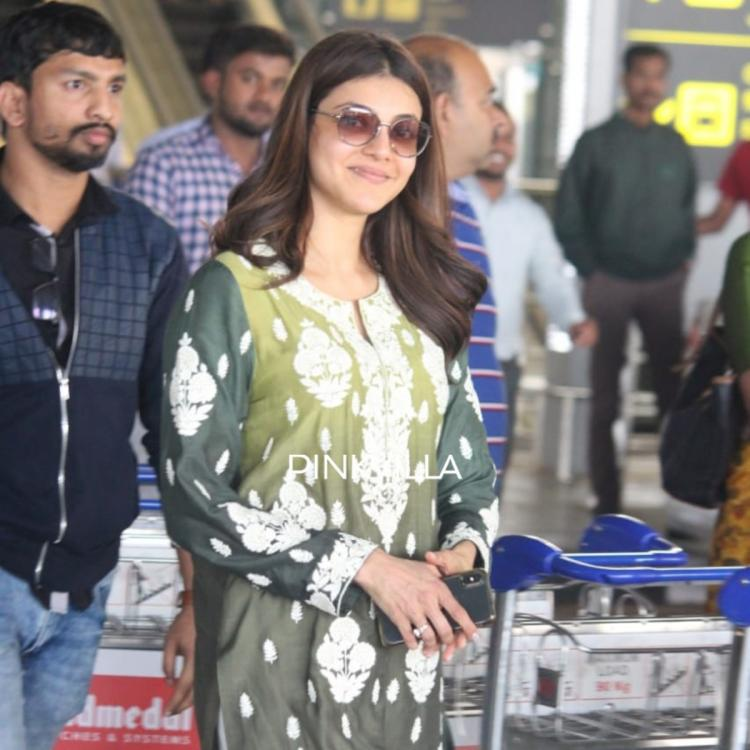 PHOTOS: Kajal Aggarwal makes a stylish appearance in a traditional outfit at the airport