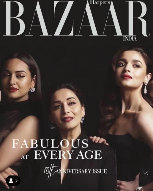Kalank: Alia Bhatt, Madhuri Dixit and Sonakshi Sinha go glam in all black on the cover of Harper's Bazaar