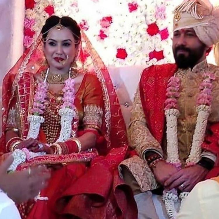 Kamya Punjabi looks stunning in a red bridal lehenga as she gets married to Shalabh Dang; Watch