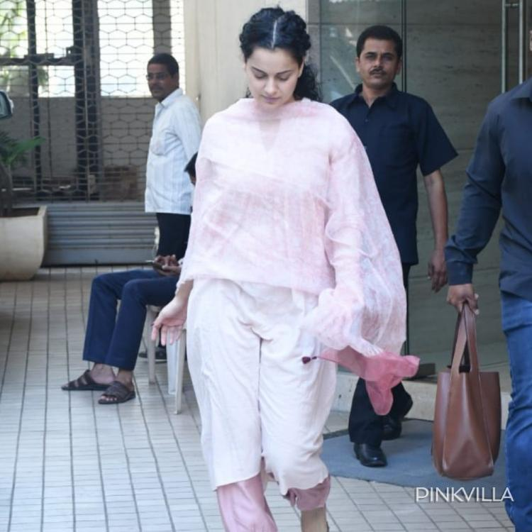 Kangana Ranaut heads out of a dubbing studio in her Thalaivi mode and we can't get stop admiring her; See Pics