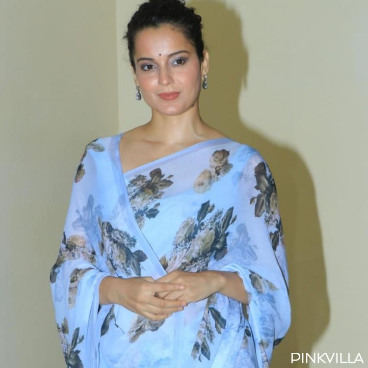 PHOTOS: Kangana Ranaut looks ethereal in a breezy blue floral saree as she heads for a press conference