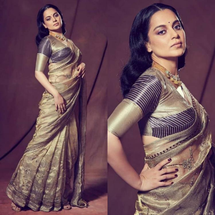 Kangana Ranaut steals the show in a golden saree by Good Earth; Yay or Nay?