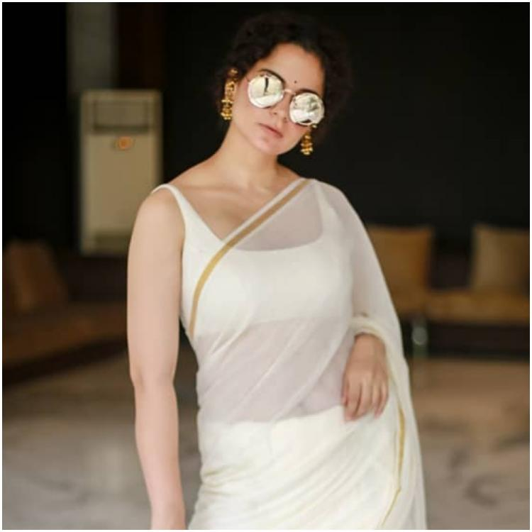 Kangana Ranaut slays in a classic white saree with statement sunnies and we can't take our eyes off her