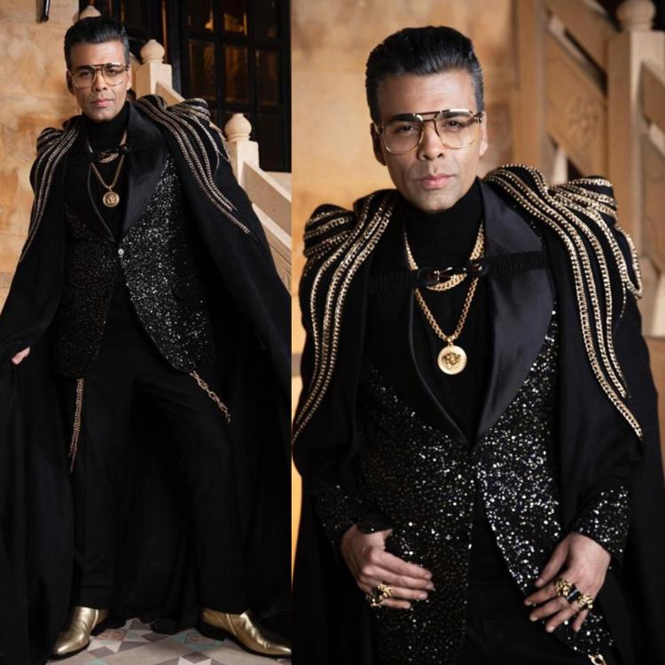 Karan Johar is the KING of over the top dressing and his Gaurav Gupta outfit with gold chains is enough proof
