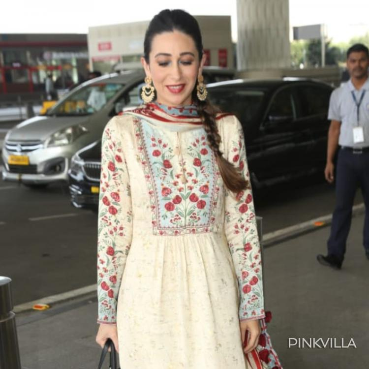 Karisma Kapoor shines in her desi avatar as she flaunts a traditional ensemble at the airport; See Pics