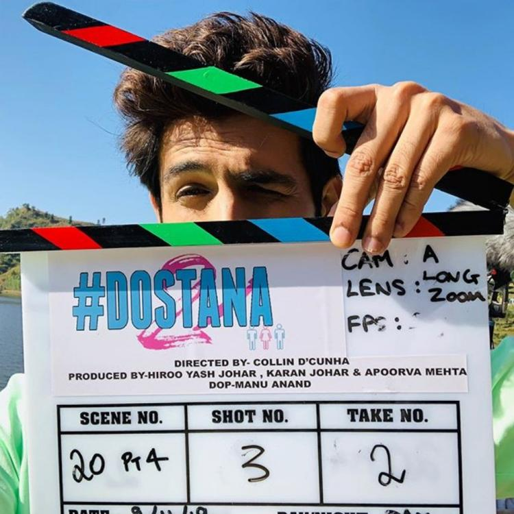 Kartik Aaryan shares a pic with clapboard as Janhvi Kapoor, Lakshya co starrer Dostana 2 begins; Check it out