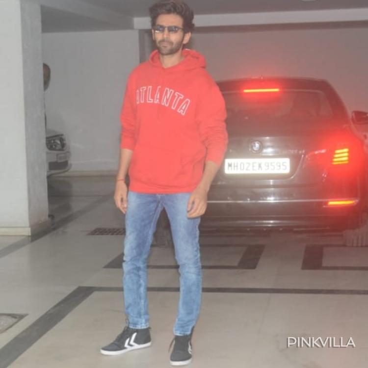 PHOTOS: Kartik Aaryan looks spunky as he flaunts his RED sweatshirt