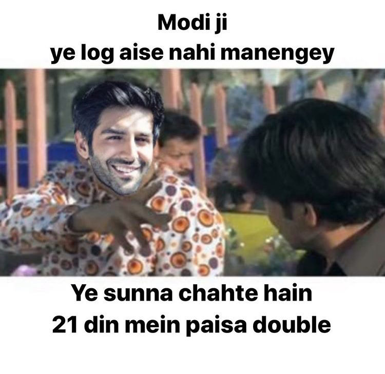 Kartik Aaryan creates a meme on himself amid Coronavirus scare.