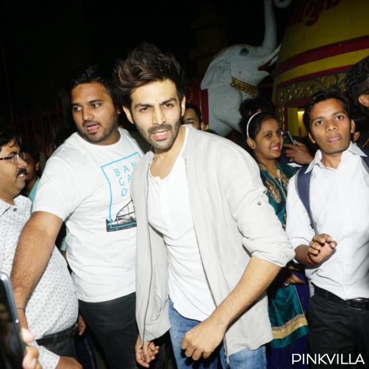PHOTOS: Kartik Aaryan gets mobbed by fans as he visits Shani temple with family